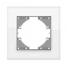 VIDEX BINERA Рамка белое стекло одинарная горизонтальная