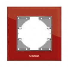 VIDEX BINERA Рамка красное стекло одинарная горизонтальная
