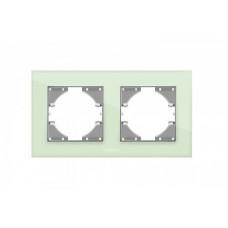 VIDEX BINERA Рамка зеленое стекло 2 поста горизонтальная