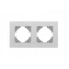 VIDEX BINERA Рамка серебристый алюминий 2 поста горизонтальная
