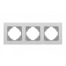 VIDEX BINERA Рамка серебристый алюминий 3 поста горизонтальная