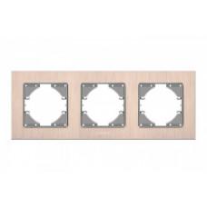 VIDEX BINERA Рамка медный алюминий 3 поста горизонтальная