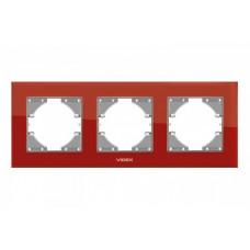 VIDEX BINERA Рамка красное стекло 3 поста горизонтальная