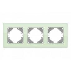 VIDEX BINERA Рамка зеленое стекло 3 поста горизонтальная