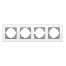 VIDEX BINERA Рамка белое стекло 4 поста горизонтальная