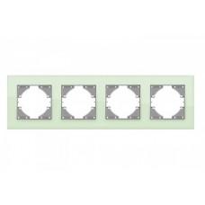 VIDEX BINERA Рамка зеленое стекло 4 поста горизонтальная